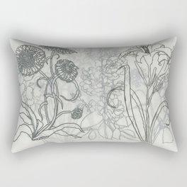B & W Floral Print #1 Rectangular Pillow