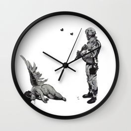 Banksy Soldier With Fallen Angel Artwork Reproduction for Prints Posters Tshirts Men Women Kids Wall Clock