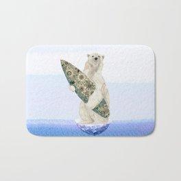Polar bear & Surf (black) Bath Mat