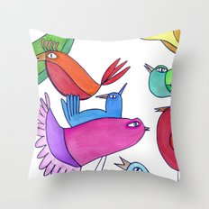 gossipy birds Throw Pillow