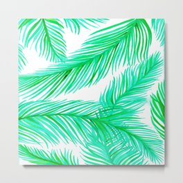 Green and White Tropical Palms Pattern Metal Print
