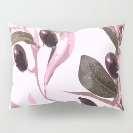 Olive tree branch with pink tones on white background Pillow Sham