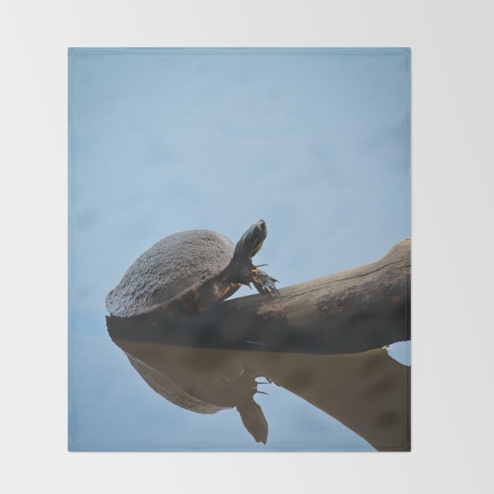 Turtle on The Lake (Color) Throw Blanket