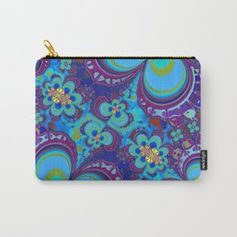 Bright Blue And Purple Flower Pattern Carry-All Pouch