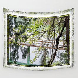 RAINY SPRING DAY AT THE DOCK IN THE WOODS Wall Tapestry