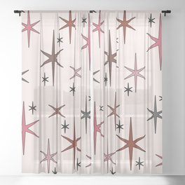 Mid Century Modern Star Sky Pink Sheer Curtain