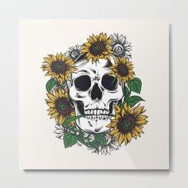 Skull Sunflower Metal Print