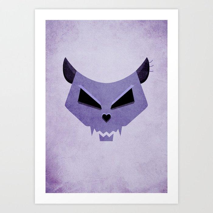 Purple Evil Cat Skull Art Print
