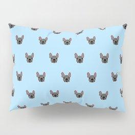 Black Frenchie Mouse Blue Brindle French Bulldog Print Pattern on Pastel Blue Background Pillow Sham