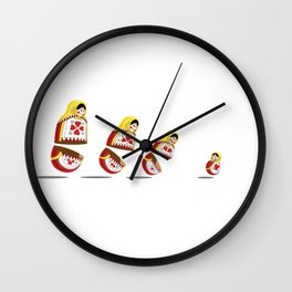 Russian Dolls chasing each other Wall Clock
