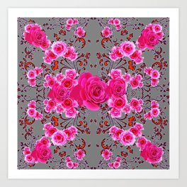 GREY &  CERISE PINK ROSES BROCADE PATTERN ART Art Print