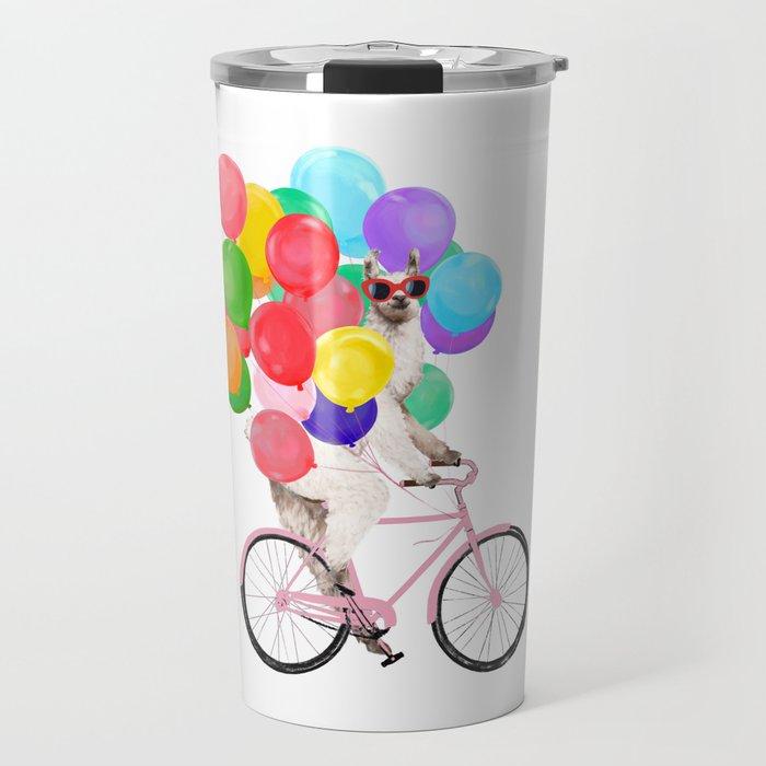 Fashion Llama Riding with Colourful Balloons Travel Mug