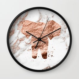 Elephant - rose gold marble Wall Clock