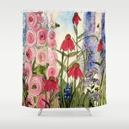 Cottage Garden Flower Whimsical Acrylic Painting Shower Curtain
