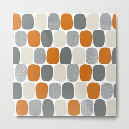 Wonky Ovals in Orange Metal Print