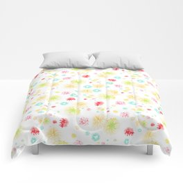 yellow fire works Comforters