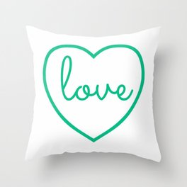 "Mint Green ""Love"" Print / Charming / Home Decor / Office Decor / Craft Space Decor Throw Pillow"