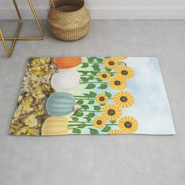 chipmunk, red breasted nuthatches, heirloom pumpkins, & sunflowers Rug