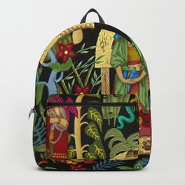 The  Coyoacán Mexican Garden of Casa Azul - Lush Tropical Greenery and Floral Landscape Painting Backpack