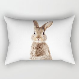Brown Standing Bunny, Baby Animals Art Print By Synplus Rectangular Pillow