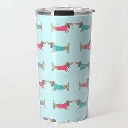 Cute dog lovers in mint background Travel Mug