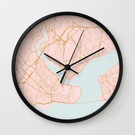 Istanbul map, Turkey Wall Clock