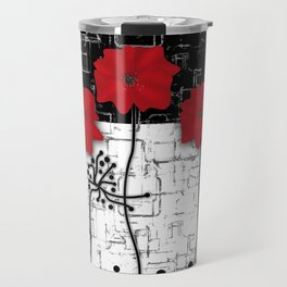 Applique Poppies on black and white background . Travel Mug