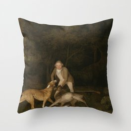George Stubbs - Freeman, the Earl of Clarendon's gamekeeper, with a dying doe and hound Throw Pillow