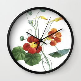 Indian cress art of Nature, flower print, botanical illustration Wall Clock