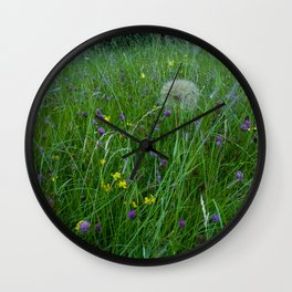 Field of flowers and Dandelions (2) Wall Clock