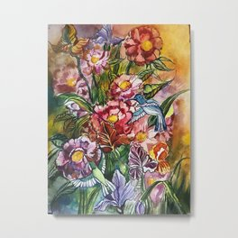 fowers and birds Metal Print