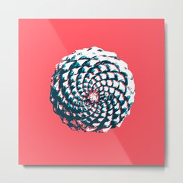 pine cone pattern in coral, aqua and indigo Metal Print