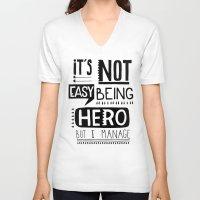 hero V-neck T-shirts featuring hero by ulas okuyucu
