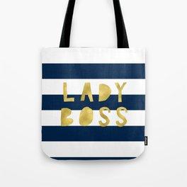 Lady Boss-Navy Stripes | Art | Pattern | Digital Design Tote Bag