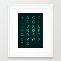 font Framed Art Prints featuring Fishes Font by Matteo Brogi