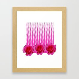 MODERN ART FUCHSIA PINK ROSE PATTERN Framed Art Print