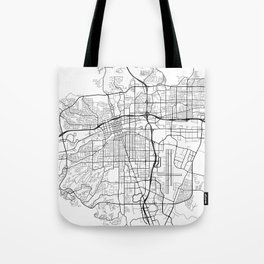 Reno Map, USA - Black and White Tote Bag