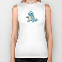 squirtle Biker Tanks featuring PIXELATED SQUIRTLE by DrakenStuff+