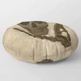 Impermanence - Velociraptor and Human Skull Floor Pillow