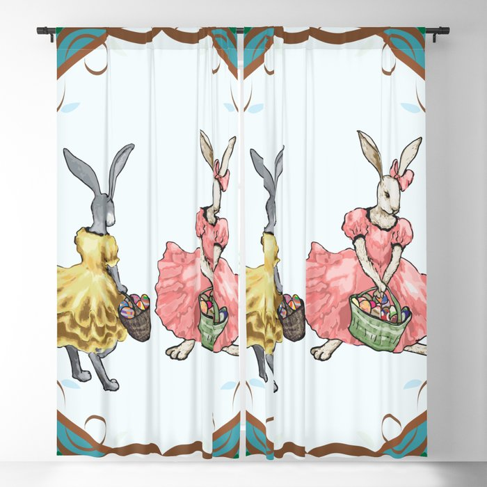 Dressed Easter bunnies 2a Blackout Curtain
