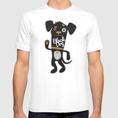 Black Dog Mens Fitted Tee SMALL White