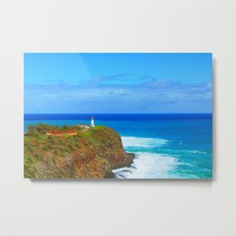 lighthouse on the green mountain with blue ocean and blue sky view at Kauai, Hawaii, USA Metal Print