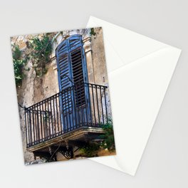 Blue Sicilian Door on the Balcony Stationery Cards