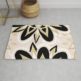 Modern black gold pink abstract floral pattern Rug
