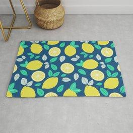 Summer Lemon Pattern in Navy Blue Rug