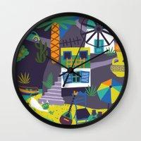 greece Wall Clocks featuring Greece by Marijke Buurlage