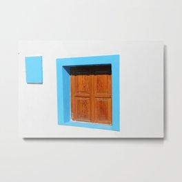 Santorini Window Metal Print