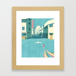 GIRL AT THE TOWN Framed Art Print