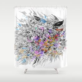 abstract colorful sketch with eyes, doodle Shower Curtain