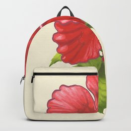 Pink Tropical Hibiscus Flower Painting Backpack